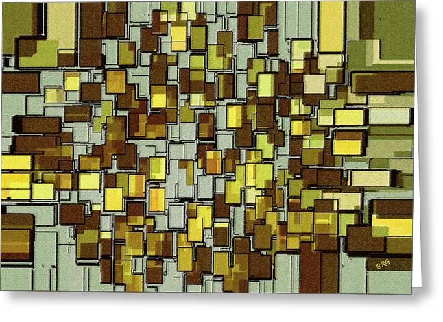 Art Glass Mosaic Greeting Cards - Urban Dwellings No 1 Greeting Card by Ben and Raisa Gertsberg