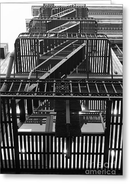 Union Square Photographs Greeting Cards - Urban Fabric - Fire Escape Stairs - 5D20592 - Black and White Greeting Card by Wingsdomain Art and Photography