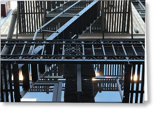 Urban Fabric - Fire Escape Stairs - 5D20592 Greeting Card by Wingsdomain Art and Photography