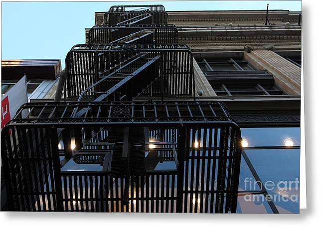 Union Square Greeting Cards - Urban Fabric - Fire Escape Stairs - 5D20593 Greeting Card by Wingsdomain Art and Photography
