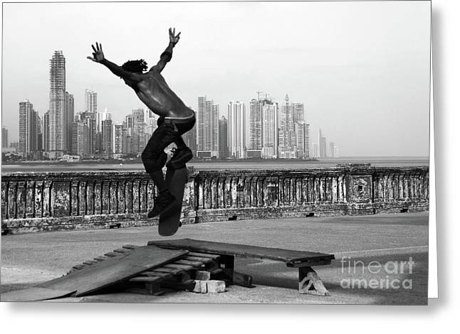 Skateboarding Greeting Cards - Urban flight 2 Greeting Card by James Brunker