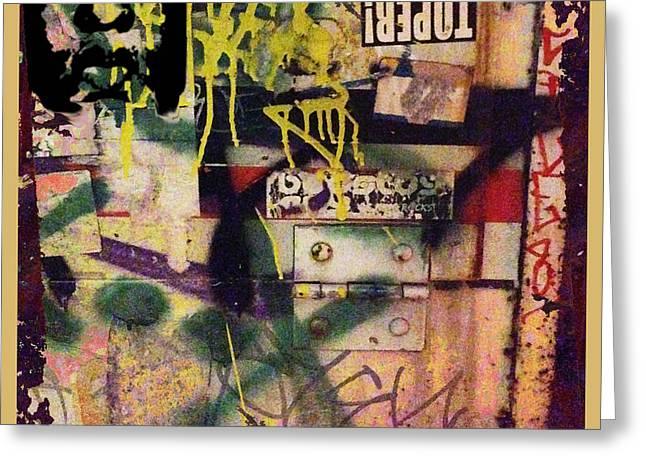 Block Print Art Greeting Cards - Urban Graffiti Abstract 1 Greeting Card by Tony Rubino