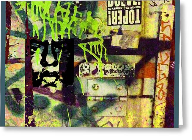 Block Print Art Greeting Cards - Urban Graffiti Abstract 5 Greeting Card by Tony Rubino