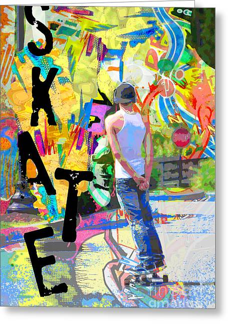 Skate Mixed Media Greeting Cards - Colorful Urban Graffiti Skateboard Art Print Greeting Card by ArtyZen Studios - ArtyZen Home