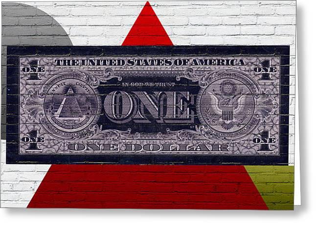 Reverse Art Greeting Cards - Urban Graffiti - US One Dollar Bill Reverse Greeting Card by Serge Averbukh