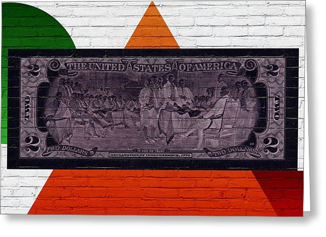 Reverse Art Greeting Cards - Urban Graffiti - US Two Dollar Bill Reverse Greeting Card by Serge Averbukh