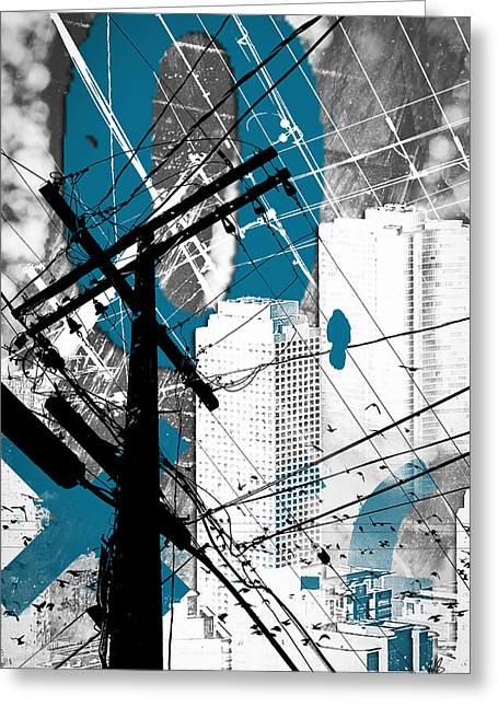 Azure Mixed Media Greeting Cards - Urban Grunge Blue Greeting Card by Melissa Smith