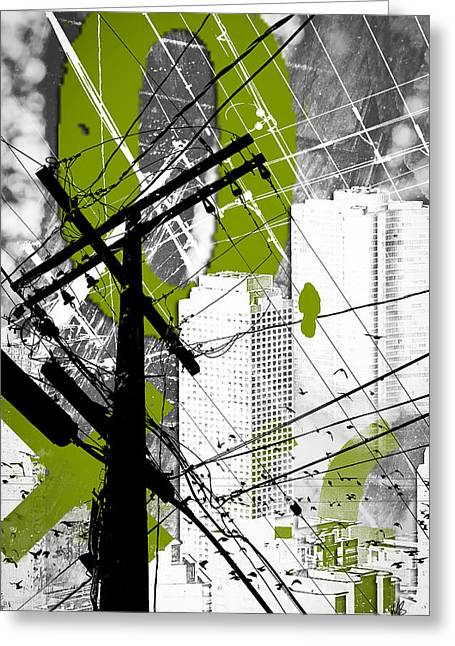 Viridian Greeting Cards - Urban Grunge Green Greeting Card by Melissa Smith