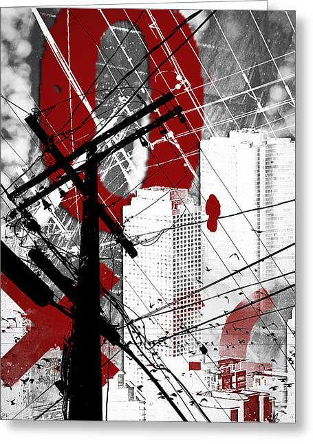 Red Buildings Mixed Media Greeting Cards - Urban Grunge Red Greeting Card by Melissa Smith