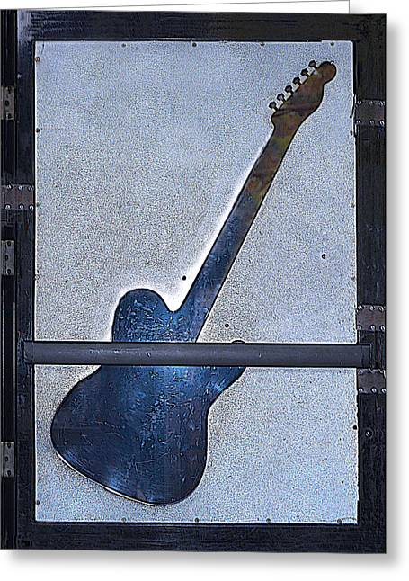 Autographed Records Greeting Cards -  Urban Guitar- Hinged Glass Door Greeting Card by Renee Anderson