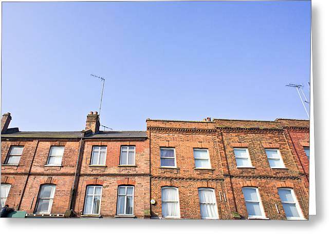 Townhouses Greeting Cards - Urban houses Greeting Card by Tom Gowanlock