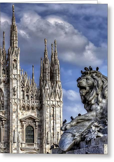 Stepping Stones Greeting Cards - Urban Jungle Milan Greeting Card by Carol Japp