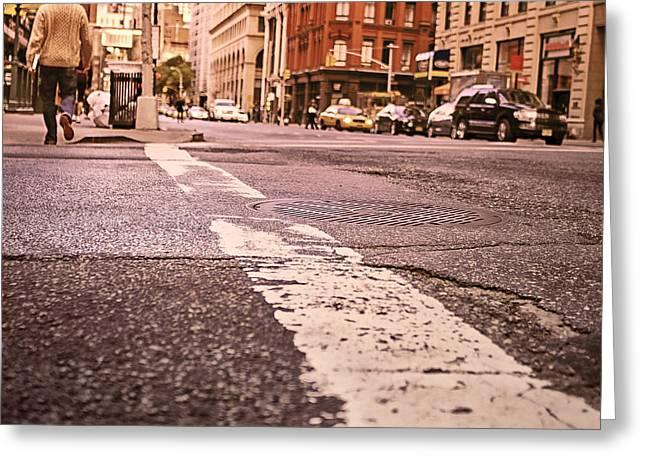 Crosswalk Greeting Cards - Urban Life - Ground Level Greeting Card by Ryan McGuire