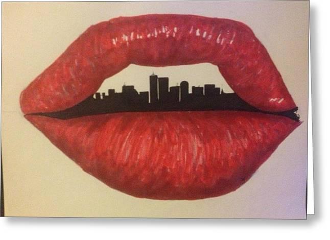 Urban Lips Greeting Card by Brad Leach
