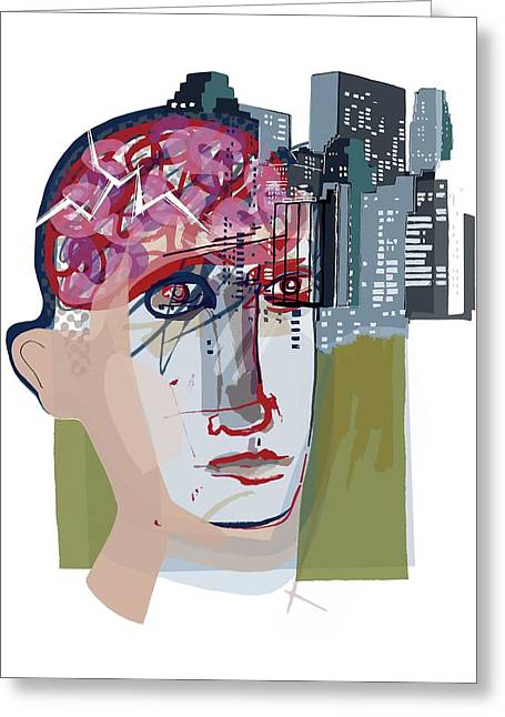 Urban Mental Health Greeting Card by Paul Brown