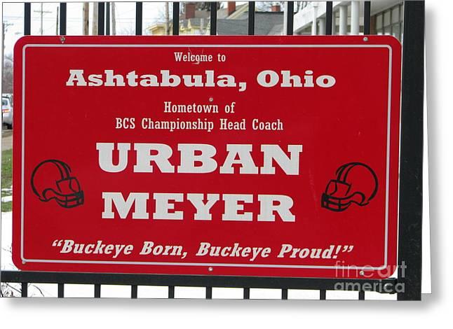 Urban Meyer Greeting Card by Michael Krek