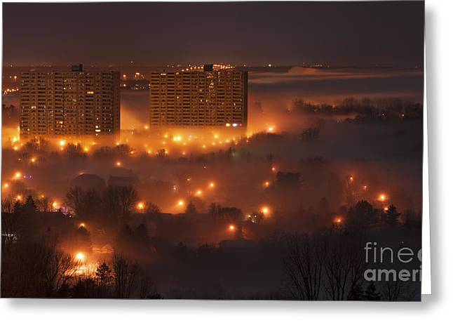Long Street Greeting Cards - Urban Midnight Magic... Greeting Card by Nina Stavlund