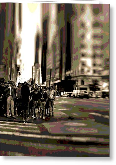 Crowd Mixed Media Greeting Cards - Urban Poster Greeting Card by Dan Sproul