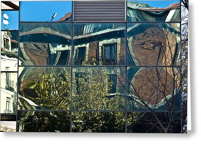 Glass Reflecting Greeting Cards - Urban Reflections Madrid Greeting Card by Frank Tschakert