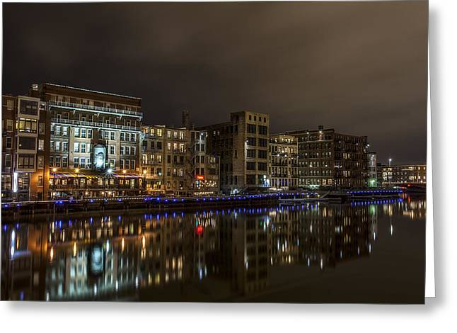 Cj Schmit Greeting Cards - Urban River Reflected Greeting Card by CJ Schmit
