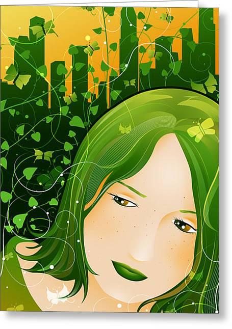 Urban Rosebudd Greeting Card by Sandra Hoefer