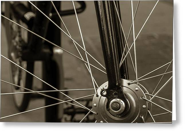 Ten Speed Greeting Cards - Urban Spokes in Sepia Greeting Card by Steven Milner