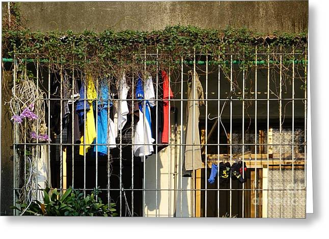 Fence Pole Greeting Cards - Urban Still Life Greeting Card by Yali Shi