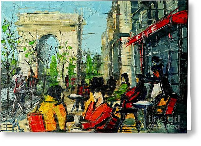 Emona Greeting Cards - Urban Story - Champs Elysees Greeting Card by Mona Edulesco