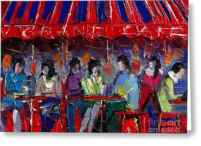 Visitors Greeting Cards - Urban Story - Grand Cafe Greeting Card by Mona Edulesco