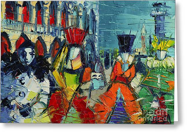 Grand Canal Greeting Cards - Urban Story - The Carnival Greeting Card by Mona Edulesco