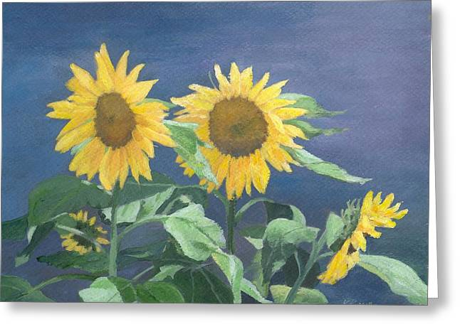 K Joann Russell Greeting Cards - Urban Sunflowers Original Colorful Painting Sunflower Art Decor Sun Flower Artist K Joann Russell    Greeting Card by K Joann Russell
