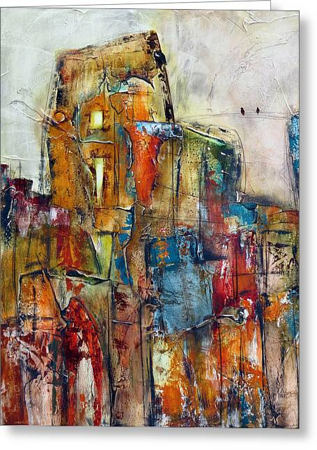Urban Images Paintings Greeting Cards - Urban Town Greeting Card by Katie Black