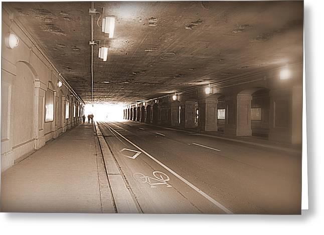 Urban Tunnel Greeting Card by Valentino Visentini