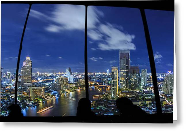 Night Cafe Greeting Cards - Urban view Greeting Card by Anek Suwannaphoom