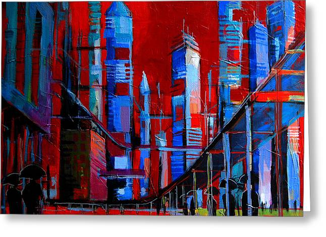 Installation Art Paintings Greeting Cards - URBAN VISION - city of the future Greeting Card by Mona Edulesco