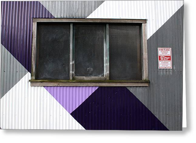 Purple Greeting Cards - Urban Window- photography Greeting Card by Linda Woods