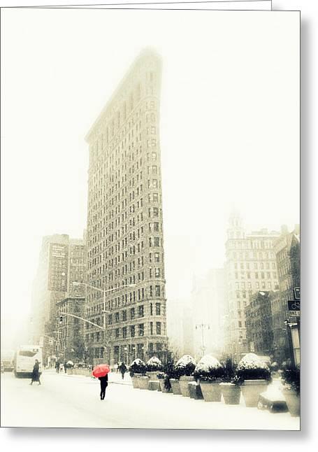 Flatiron Greeting Cards - Urban Winter Greeting Card by Jessica Jenney