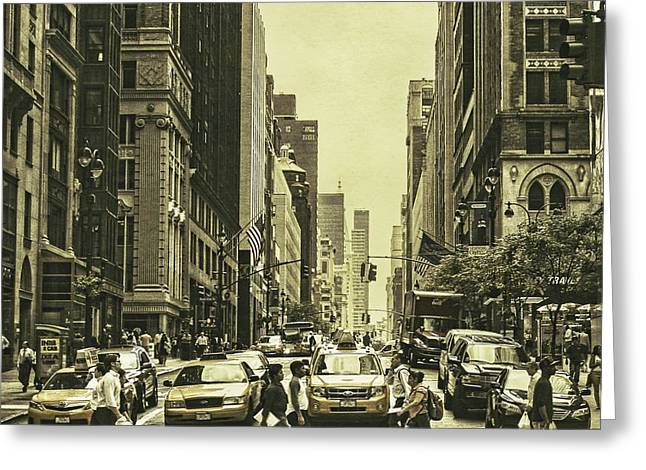 Nyc Taxi Greeting Cards - Urbanites Greeting Card by Andrew Paranavitana