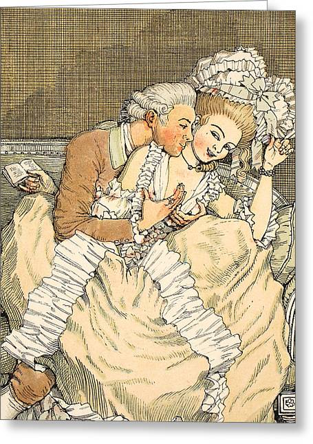 Erotic Male Drawings Greeting Cards - Urgent love Greeting Card by Konstantin Andreevic Somov