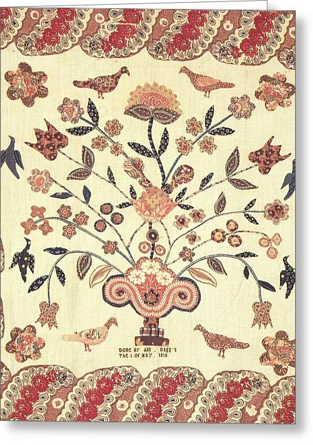 Cities Tapestries - Textiles Greeting Cards - Urn of Flowers with Birds Greeting Card by Ann Daggs