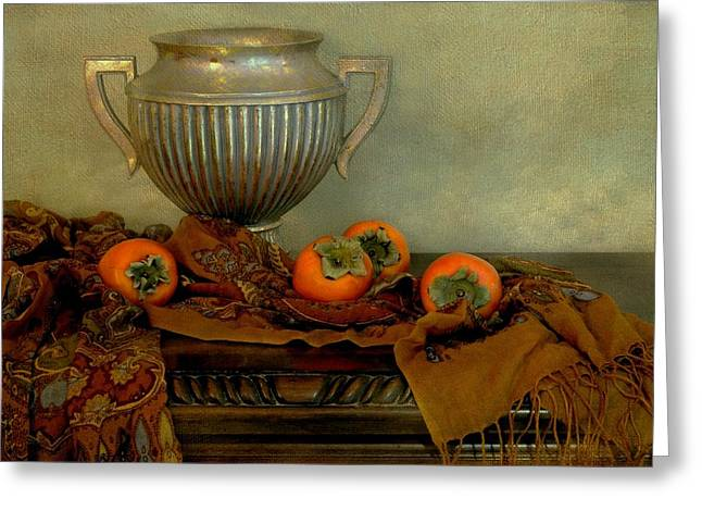 Table Cloth Greeting Cards - Classic Urn with Persimmons Greeting Card by Diana Angstadt