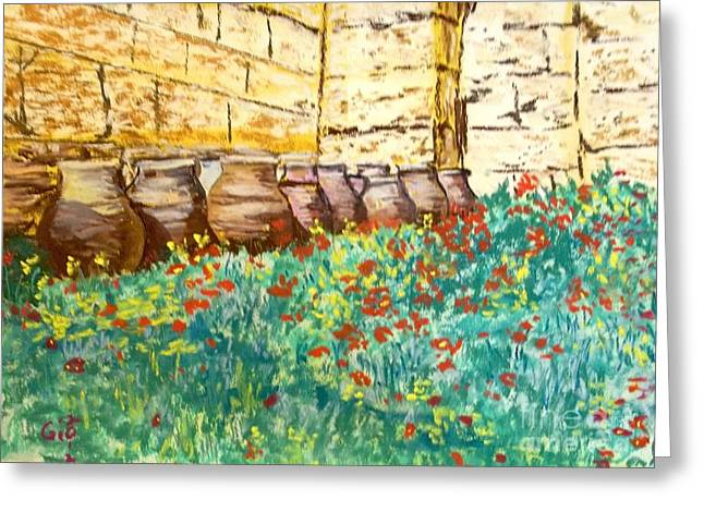 Greek Pastels Greeting Cards - Urns at Base of Acropolis in Athens Greeting Card by Frank Giordano