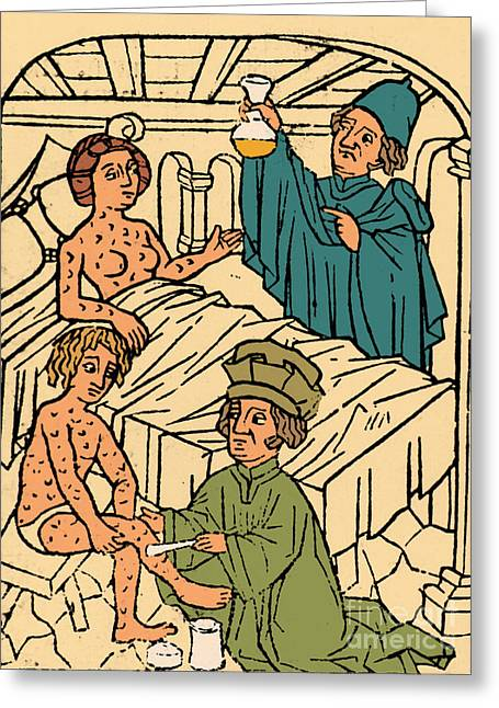 Salve Greeting Cards - Uroscopy Patients With Syphilis 1497 Greeting Card by Science Source