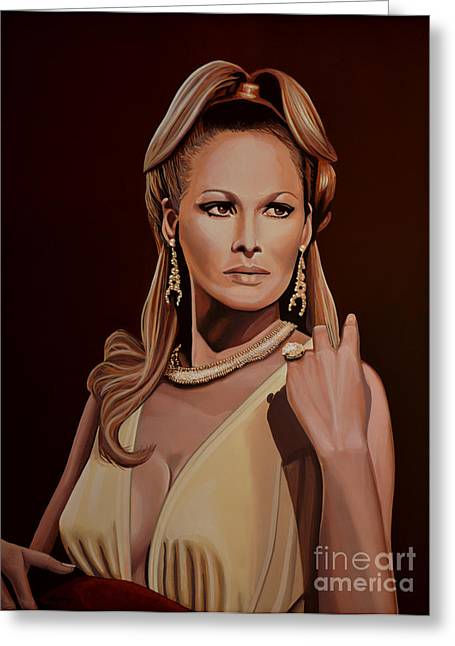 Swiss Paintings Greeting Cards - Ursula Andress Greeting Card by Paul Meijering
