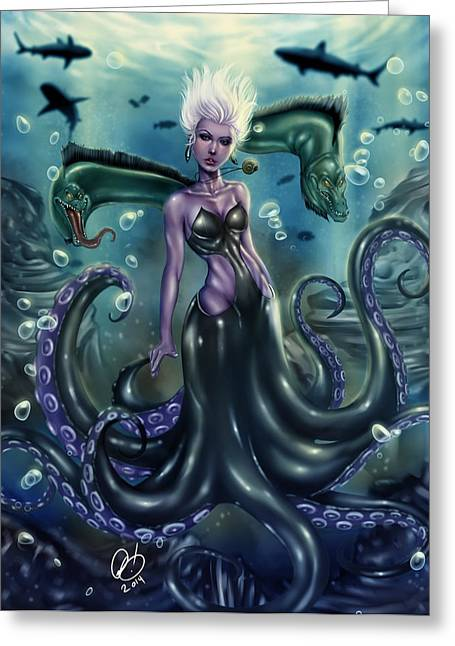 Extinct And Mythical Drawings Greeting Cards - Ursula Greeting Card by Pete Tapang