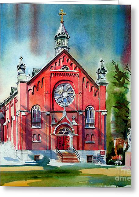 Red Buildings Mixed Media Greeting Cards - Ursuline Academy Sanctuary Greeting Card by Kip DeVore