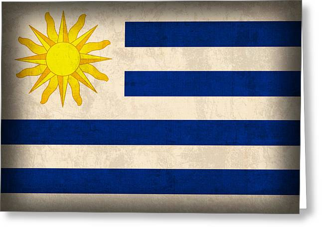 Uruguay Greeting Cards - Uruguay Flag Vintage Distressed Finish Greeting Card by Design Turnpike