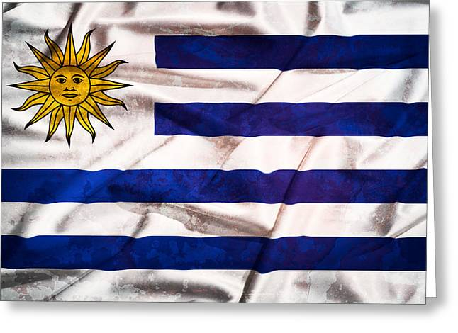 Abstract Waves Tapestries - Textiles Greeting Cards - Uruguay  grunge flag on a silk drape waving Greeting Card by Stefano Carniccio