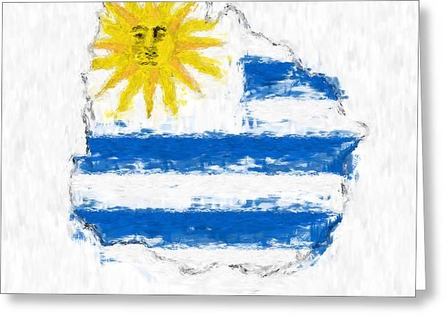 Dap Greeting Cards - Uruguay Painted Flag Map Greeting Card by Antony McAulay