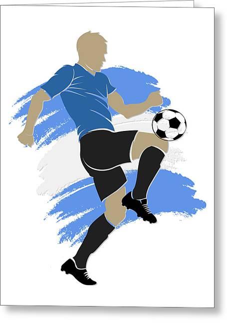 Uruguay Greeting Cards - Uruguay Soccer Player Greeting Card by Joe Hamilton